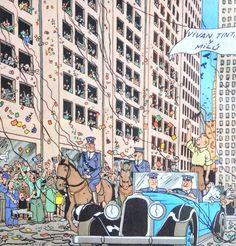 Tintín en América - desfilando en un Cabriolet azul por las calles de Chicago (2)