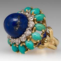 1970's Lapis, Diamond & Turquoise Cocktail Ring