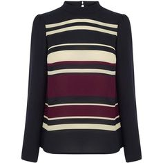 Oasis Stripe High Neck Top, Multi (£35) ❤ liked on Polyvore featuring tops