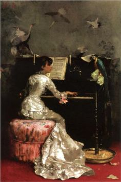 Young Woman at Piano - Julius LeBlanc Stewart Where are those cozy stools for piano players today?
