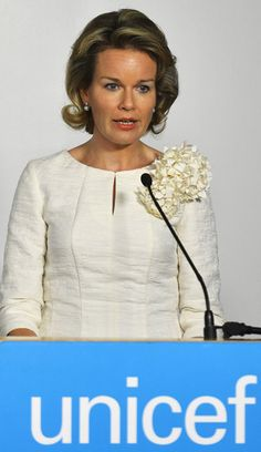 Belgian Queen Mathilde delivers a speech at a side event co-hosted by UNICEF and Global Compact Belgium 'Children's rights are everyone's business' in New York, where she will attend the UN Global Compact Leaders Summit 2013