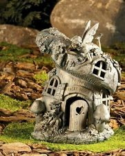 Garden Statue with Fairy Laying Upon a Mushroom Toad Abode House