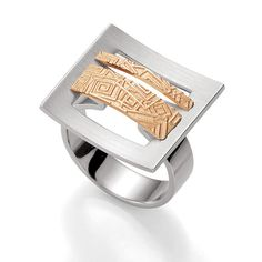 Breuning Rose Gold Plated Embossed Ring