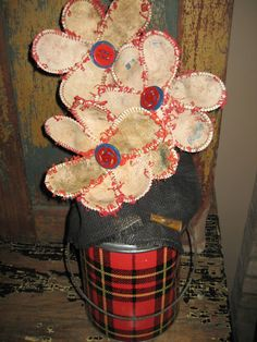 Vintage baseball flowers with plaid cooler by stuffinthetrunk, $40.00