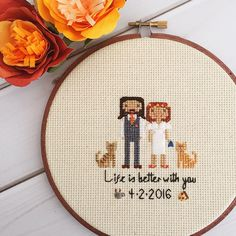 Custom Cross Stitch Wedding Portrait Wedding by clothandtwigshop