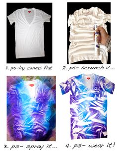 p.s. i made this spray paint t-shirt Shibori, Cute Crafts, Diy Crafts, How To Tie Dye, Diy Shirt, Craft Projects, Crafty Craft, Crafting, Diy Clothes