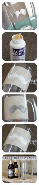 My kids love making cute kids crafts for gifts on Fathers Day.  DIY Glass Etched Mustache Mugs is a great idea and it is something he can use year round!