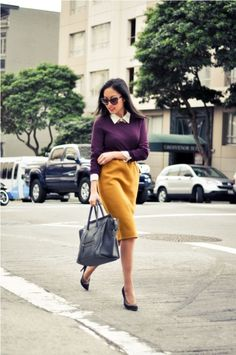 Mustard pencil skirt, plum sweater and purse...I like!