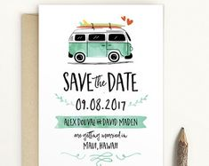 Vintage VW Beetle Save the Date  VW Bug Save The by LucyLovesPaper