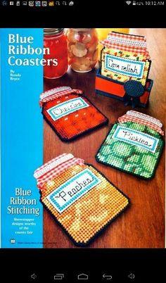 Blue ribbon coasters Plastic Canvas Coasters, Plastic Canvas Crafts, Plastic Canvas Patterns, Canning Jars, Mason Jars, Decorative Bird Houses, Canvas Home, Play Food, Kitchen Items