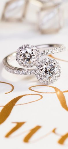 """Words to love by. """"There are all kinds of love but never the same love twice."""" — F. Scott Fitzgerald The Forevermark Two Stone Collection."""