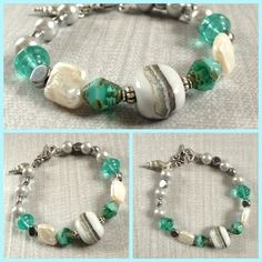 Coastal Pathway Bracelet - Handmade lampwork banded pebble glass bead, freshwater pearl squares, steely grey ceramic disc, Czech glass bicones, turquoise glass & shell charm by The Blue Starfish