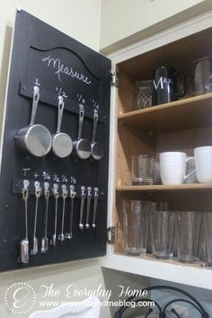 this trick will keep your measuring spoons organized for, chalk paint, chalkboard paint, cleaning tips, kitchen design, painting