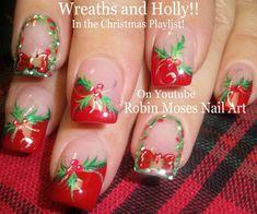 Nail Art Tutorial | Easy Christmas Nails! | DIY Holly and Xmas Wreath!