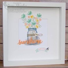 by Pam: Jar of Love bundle, Thoughtful Banners bundle, Sunshine Wishes Thinlits - all from Stampin' Up! With instructions.
