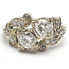 Vintage Retro Twin Diamond Anniversary Ring Solid 14K White Gold - Hmmmm ... does the first anniversary count for this?? $1499