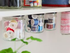 DIY Creative Under Shelf Storage - this would be a perfect use for my used baby food jars Under Cabinet Storage, Jar Storage, Craft Storage, Storage Shelves, Spice Storage, Open Shelves, Baby Food Jar Crafts, Baby Food Jars, Baby Jars