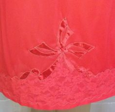 Vintage Contessa Lingerie Red Half Slip Nylon Medium Lace Bow Applique by ShonnasVintage, $16.99