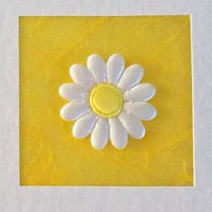 Thank You Card, teacher, wedding, bridesmaid, baby, gift, present, engagement, white daisy flower, yellow, contemporary, modern, thanks for
