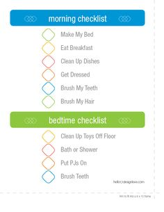 Morning and bedtime checklist for your little ones.
