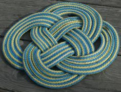 Large Round Doormat Blue & Yellow Rope Rug by AlaskaRugCompany, $49.99