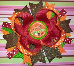 Fall Thanksgiving Give Thanks Boutique Hair Bow  Www.etsy.com/shop/mandasbowtiqueamm