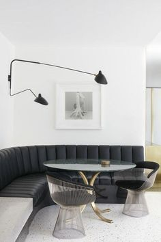 Home Interior design. Armadale Residence by Travis Walton Architecture - Australian Interior Design Awards Dining Room Sets, Dining Nook, Dining Room Lighting, Dining Room Design, Built In Dining Room Seating, Dining Room Bench, Table Bench, Built In Bench, Dinning Table