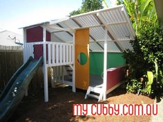 Such a cool fort and slide. So much  room for playing and fun!#MyCubby #CubbyHouse #Cubbies #Fort #Play #OutsidePlay #PlayIdeas #OutdoorPlay #Christmas #ChristmasLayby #ChristmasPresent
