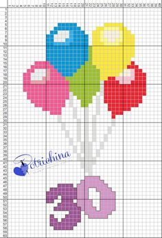 happy birthday 30 anni  - schema punto croce - cross Stitch - Kreuzstich - Punto de Cruz