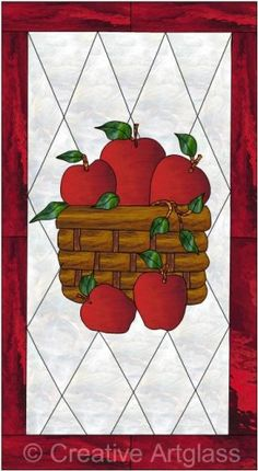 Stained Glass Apple Suncatcher Panel Autumn Harvest Fruit Wall Art Sun Catcher Window Hanging Or Ornament For Country Kitchen Decor