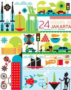 24 hours in Jakarta   Indonesia illustration