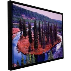 ArtWall Dean Uhlinger Dusk Meander Yellowstone Floater Framed Gallery-Wrapped Canvas, Size: 24 x 36, Purple