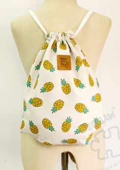 Pineapple drawstring bag Canvas Cotton Backpack Laptop bag Hip bag Handmade bag by YourBags on Etsy https://www.etsy.com/listing/236223517/pineapple-drawstring-bag-canvas-cotton