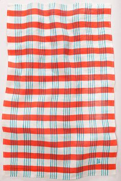 Tea Towel - Red and Cyan Plaid Ktaadn from Portland, Maine Textile Patterns, Textile Prints, Textile Design, Color Patterns, Print Patterns, Pattern Ideas, Geometric Patterns, Paint Stripes, Red Stripes