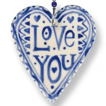 "Crafted in the typical Roelofs & Rubens style this funky heart is decorated on the both sides. The front side contains the text ""Love You"". The reverse side is decorated with the ""dots"". The decoration measures 6.5 cm. The beads and hearts ribbon together measure 15 cm. #gift #mother #blue"