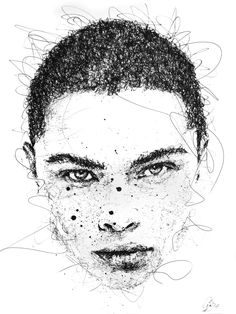 44321193c7562 Gus Romano. Aprender A DesenharArte De RetratoArte Da FormaDesenhos De Arte Doodles. Scribble portrait by Gus Romano. Sketch with black pen and ink.
