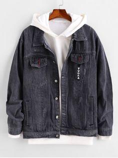 Pocket Button Design Denim Jacket – Ash Gray M – Tepe Time Tomboy Fashion, Mens Fashion, Fashion Outfits, Pop Fashion, Cool Outfits, Casual Outfits, Stylish Hoodies, Mini Vestidos, Alternative Outfits