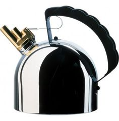 This Alessi Hob Kettle has a brass whistle whose pipes sing two notes, mi and si instead of the usual irksome sound of most hob kettles. This kettle features a magnetic steel heat diffusing bottom . Up House, Design Museum, Interiores Design, Aluminium, Kitchenware, Tableware, Industrial Design, Kitchen Gadgets, Bucket Lists