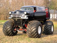 Image via Pictures of monster trucks Image via Hearse Thread Truck Wheels, 4x4 Trucks, Custom Trucks, Cool Trucks, Custom Cars, Cool Cars, Cars And Trucks, Weird Cars, Chevy Trucks