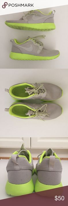 Nike Roshe One in Grey and Neon Nike Roshe One  in Grey and Neon yellow/green - lightly worn - size 9.5 Nike Shoes Athletic Shoes
