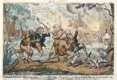 """Cannibal Early caricature showing settlers being attacked by cannibal """"Hottentots"""". False Advertising, Oppression, Caricature, Nativity, 19th Century, Vintage World Maps, Cartoon, History, Rhodes"""
