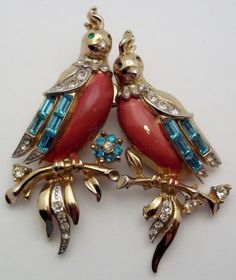 Vintage Coro Craft Birds Duette Brooch PIN SET | eBay