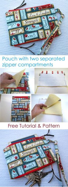 Pouch with two separated zipper compartments. Tutorial & Pattern http://www.free-tutorial.net/2017/09/magic-pouch-tutorial.html