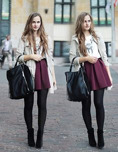 Khaki Utility Jacket + White Tee + Oxblood Pleated Skirt + Black Opaque Tights + Black Ankle Boots