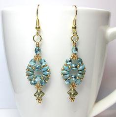 Green and gold earrings czech glass earrings by BuzzybeeBeading, £9.00