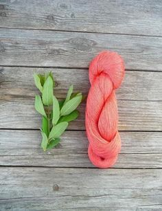 Skein of natural   Linen Yarn in coral red color by YarnStories