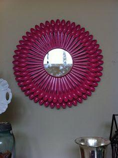 sunburst mirror made with plastic spoons