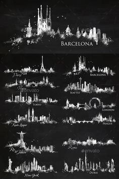 Silhouette citi by Anna on Creative Market - Tattoos Cityscape Silhouette, Silhouette City, Body Art Tattoos, Tatoos, Skyline Tattoo, City Tattoo, Nyc Tattoo, Watercolor City, City Drawing