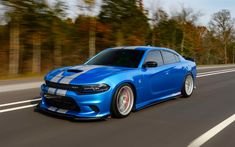 Download wallpapers Dodge Charger SRT, 4k, blue sedan, tuning Charger, American cars, Dodge