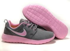 nike roshe run suede womens gray/lightpink running shoes for uk hot sale